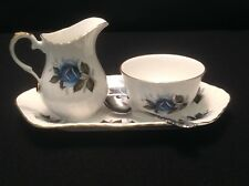Elizabethan Blue Rose Fine Bone China Cream and Sugar with Tray