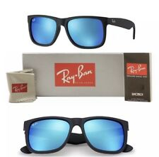 Ray-Ban Wayfarer Sunglasses RB4165 Justin Blue Polarized Lens 622/55 Black Frame