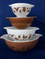 Vintage Pyrex Brown & White American Cinderella Nesting Mixing Bowls Set 4