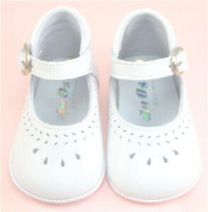 DE OSU - Baby Girls White Leather Dress Crib Pram Shoes - European - Size 0-4