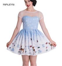 Hell Bunny Mini Dress Nevara Noelle Snowflake Christmas Blue All Sizes Womens UK Size 16 - XL