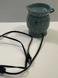 Scentsy Riviera Wax Warmer Teal Green Scroll Leaves DSW-RIVI No box