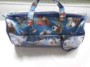 Vintage Berketex Knitting Needles Yarn Blue Carry Bag Cute Kittens Puppies
