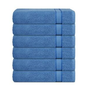 Super Soft 6 Pack Wash Cloths 30x30, 600 GSM 100% Pure Cotton with Rayon trim