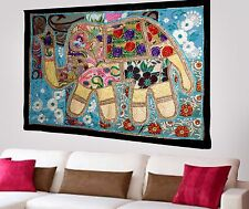 HANDMADE ELEPHANT BOHEMIAN PATCHWORK WALL HANGING EMBROIDERED TAPESTRY INDIA X74