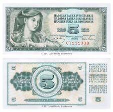 YOUGOSLAVIE 5 dinara 1968 P-81 billets UNC