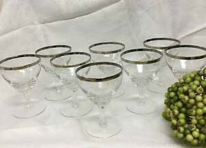 Silver Platinum Rim Crystal Stemmed Cordial Wine Glasses Set of 8 Stemware