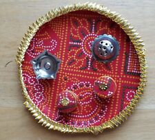 RED COLOR PUJA THALI, PRAYER PLATE FOR HINDU RITUALS ( NEW )