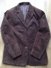Vintage Brown Leather Jacket Button Waist-Length Formal Ladies UK 16 (EU 44)