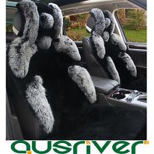 Premium Fox Fur Australian SheepSkin Front Rear Car Seat Cover Black Full Set