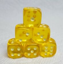 Dice - Koplow's 16mm Glow-in-the-Dark PIPS on TP Yellow - See in the dark! 6/Set