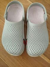 Genuine Ladies LiteRide Crocs Size 4. Grey pink red