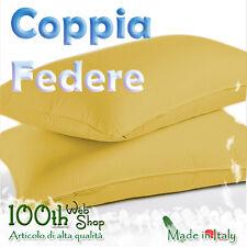COPPIA FEDERE 52X82 100% COTONE GIALLO OCRA FEDERA GUANCIALE CPFDOCR