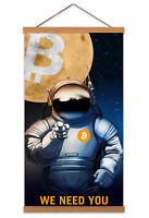 Bitcoin Recruitment Crypto Moon Astronaut Canvas Wall Art Print Poster