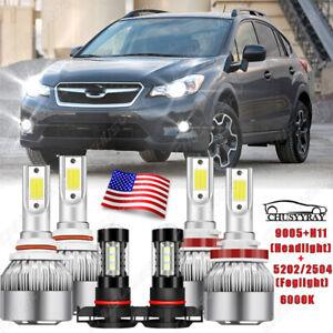For Subaru XV Crosstrek 2013-2014 Combo 6x LED Headlight High Low Fog Light Kit