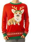 Ugly Christmas Party Sweater Unisex Men's Corgi Dog W/ Antlers Sweatshirt