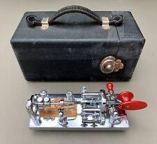 "Vibroplex ""Blue Racer"" Deluxe Chrome Telegraph Bug Key SN 178944 w/ Case c.1952"