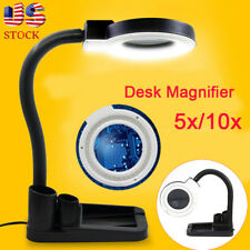 New 40 LED Glass Table Lamp Tabletop Magnifying Lamp Magnifier 5X 10X Desk Light