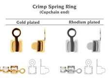 Genuine Swarovski 00 011 Crimp Spring Ring 27004 Cupchains Ends * All Sizes Rhodium Plated 4mm (pp32) 20 Pieces/pack