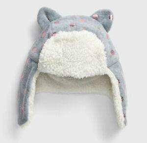 New Baby Gap Gray Fleece Sherpa Metallic Pink Polka Dot Trapper Winter Hat S/M