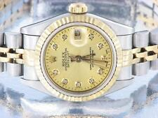 ROLEX DATEJUST LADIES STAINLESS STEEL & GOLD AUTOMATIC DIAMOND WATCH MODEL 69173