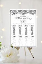 Lace Effect Wedding Table Plan Seating Plan Sign Chart White Ivory Background