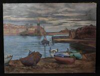 Lucien Vogt (1891-1968) View of the Port Collioure Ceret Side / Coast Pan