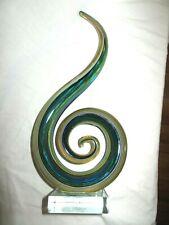 Murano Glassware Blue, Yellow, Brown, White Swirl Twist Art Glass Statue w/Base