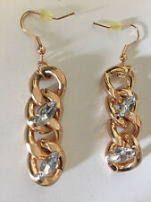 NEW Zara Gold Chunky Curb Chain Chandelier Dangling Crystal Ethnic JEWEL Boho