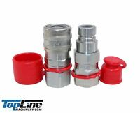 """TL19 3/8"""" NPT 1/2"""" Flat Face Quick Connect Hydraulic Coupler Bobcat Skid Steer"""