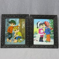 Lot 2 Vintage Lee Big Eyed Children Framed Pictures 10x8 Shoe Shine Winter Love
