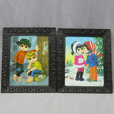 Lot 2 Vintage Lee Big Eyed Children Framed Pictures 10x8 Shoe Shine Winter Love