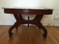 Vintage Victorian Italian White Marble Grey Mahogany Wooden Oval Coffee Table
