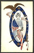 Western Cowgirl Flag Sword Eagle Patriotic Embossed Postcard (c. 1905)