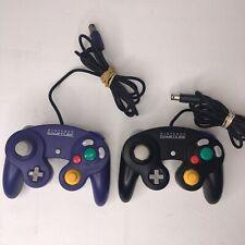 2 Lot Genuine OEM Nintendo GameCube Wii Controller Pad Purple Indigo Black