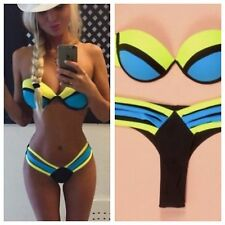 New NEON Bandage Push up Strapless Bikini Set Swimsuit sizes 10-12