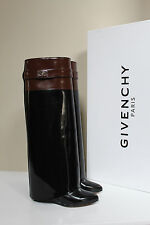 6.5 / 37 Givenchy Black Brown Leather Shark Lock Tooth Fold Over Wedge Boot Shoe