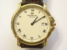 Mens Raymond Weil Model 9155 18K Electroplated Date Watch Roman Dial