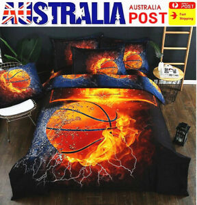 AU Stock Fire Basketball Quilt Doona Duvet Cover Set Single Double Bed Cover Set
