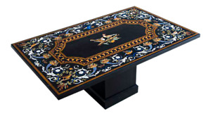 """60"""" x 36"""" Marble Center Table Top Pietra Dura Inlay With Marble Stand"""