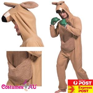 Mens Kangaroo Costume Animal Zoo Party Boxer Adults Mascot Unisex Jumpsuits