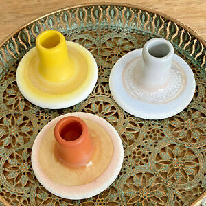 Sass & Belle Mojave Glaze Candlestick Holders Orange-Yellow OR Grey Incl Candle