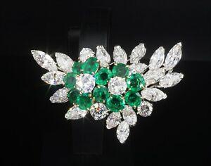 "Amazing Rare Van Cleef Arpels 15ct Floral Emerald & Diamond Brooch 1.75"" OG317"