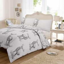 STAG GREY Duvet Quilt Cover with Pillow Case Set Size Double