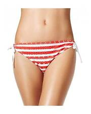 California Waves Medium Red & White Striped Tunnel Bikini Swimsuit Bottoms M NWT