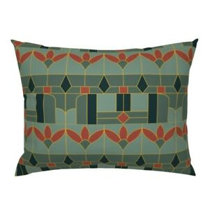 Floral Art Deco Geometric Rust Red Green Gold Mid Pillow Sham by Roostery