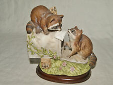 1987 Homco Masterpiece Porcelain Raccoons at Mailox - on Wood Base