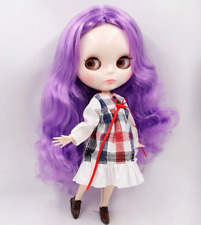Blythe Doll 30cm Joint Body 1/6 BJD Changing Eye Color Purple Long Curly Hair