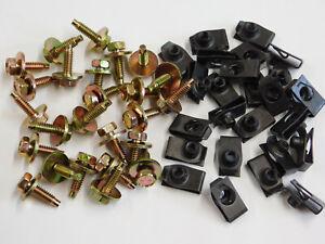 """Mopar Valance Bolts & U Nuts Black Zinc Coated 1/4-20 x 7/8"""" Hex Dog Point Body"""