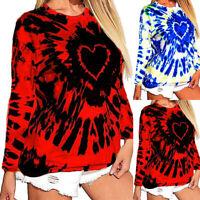 Women's Heart Tie-Dye Printed Loose Casual Hoodie Top Long Sleeve Blouse T-shirt